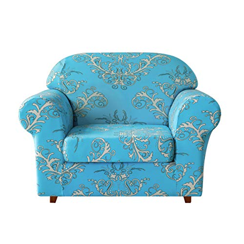 TIKAMI Printed Floral Sofa Slipcovers 2-Piece Stretch Spandex Chair Covers Anti-Slip Couch Protector for Living Room(Chair,Blue)