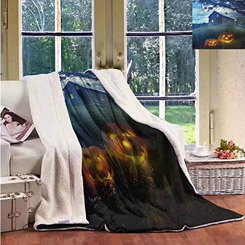 Sunnyhome Winter Quilt Halloween Wood Rustic Haunted House Machine Washable and Drier Safe -