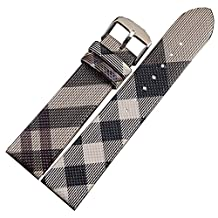 NESUN Unisex Calfskin Leather Watch Band Sultable For Burberry Watches 20mm Grey