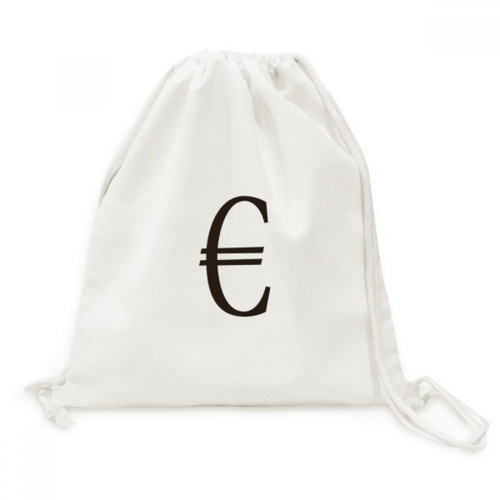 Currency Symbol Euro Canvas Drawstring Backpack Travel Shopping Bags
