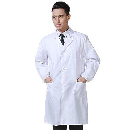 OPPP Ropa médica Chaqueta médica Blanca para Hombres Servicio de Ropa Uniforme Ropa de Enfermera Chaqueta