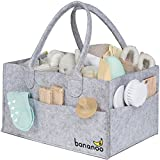 Diaper Caddy - Baby Nursery Organizer - Wipes & Diapers Storage for Baby Changing Table - Car Tote Basket for Baby Essentials Or Toys - for Boy & Girl, Grey - Newborn Bins & Organizers by Bananoo