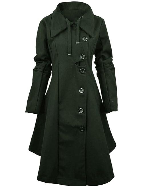 ZhuiKun Mujer Chaqueta Larga de Elegante Abrigo Trench Jacket Coat Outwear: Amazon.es: Ropa y accesorios