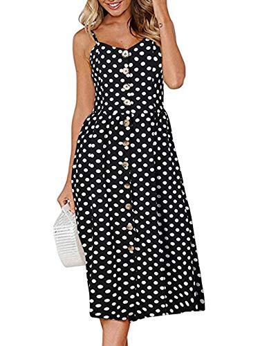 (SWQZVT Women's Dress Summer Spaghetti Strap Sundress Casual Floral Midi Backless Button Up Swing Dresses Black Polka Dot L)