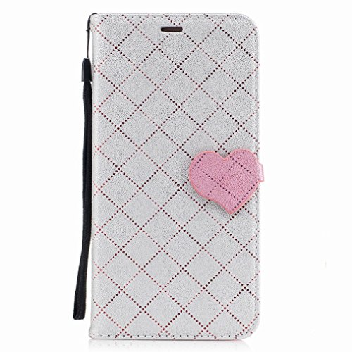 Yiizy Huawei Mate 9 Custodia Cover, Amare Design Sottile Flip Portafoglio PU Pelle Cuoio Copertura Shell Case Slot Schede Cavalletto Stile Libro Bumper Protettivo Borsa (Grigio)