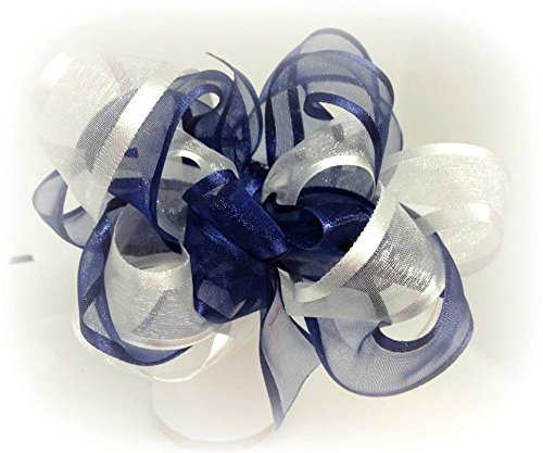 [Navy Blue White infant Toddler Little Girls organza Hair Bows] (Dance Second Hand Costumes)