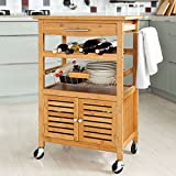 SoBuy Large Wheeled Kitchen Storage Cart, Kitchen Storage Rack with Cabinet,Bamboo,L60cm(23.6in)xW40cm(15.7in)xH92cm (36.2in), FKW09-N Review