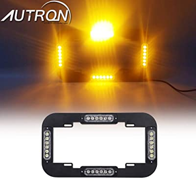 "AutronLEDLight 13.5"" License Plate Strobe Light 24 W LED Emergency Traffic Adviser Warning Flash Strobe Lights (Amber): Industrial & Scientific"