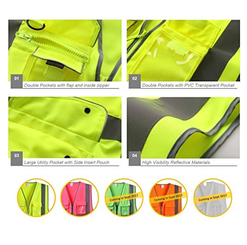 G & F Products 9 Pockets Class 2 High Visibility Zipper Front Safety Vest With Reflective Strips, Yellow Meets ANSI/ISEA Standards (X-Large) by JKSafety (Image #3)