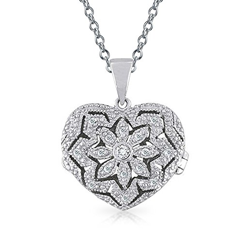 Vintage Style Heart Floral Locket Pendant Filigree Cubic Zirconia CZ Necklace For Women For Teen 925 Sterling Silver