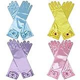 Qunan Girls Long Satin Gloves 4 Pair Diamonds Bows Belle Elsa Sofia Aurora Princess Dress Up for Girls Kids