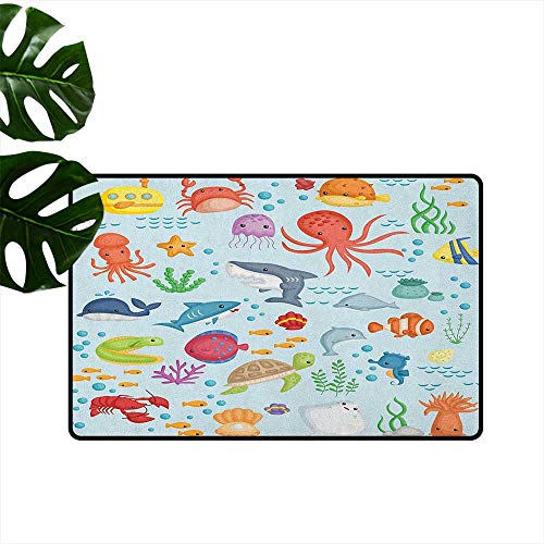 (RenteriaDecor Marine,Carpet Flooring Bunch of Sea Animals Submarine Crabs Squid Lobster Octobus Seaweed Starfish Stingray 24