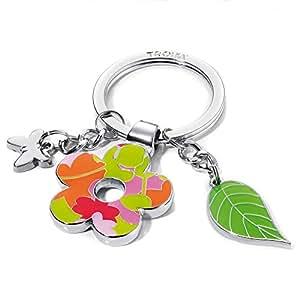 Llavero dijes de flor y hoja, con un pequeño colgante en forma de mariposa, meta