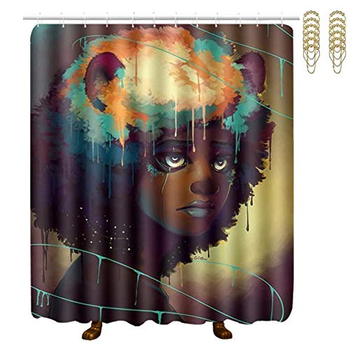 NiYoung Shower Curtains 12 Hooks Included - African Black Woman Painting Art, Water-Repellent Extra Wide Spa Curtain for Stalls and Bathtubs Spa, Hotel