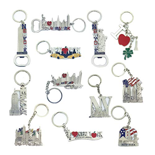 12 Pack Silver NYC Souvenir Collection New York Metal Keychain Ring Bundle Bulk Includes Empire State, Freedom Tower, Statue Of Liberty, USA Flag,NY Cab, Apple, Bottle Opener too And More (New York Keychain Souvenirs)