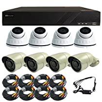 Complete Sibell 8 Channel 720p HD-TVI Surveillance System with 8 HD 720p Cameras 1TB hard drive, Power Supply and Cable! Also Includes Free Apps, US Based Warranties and Support!