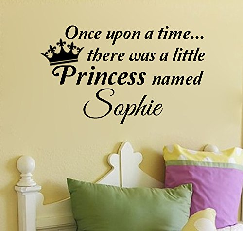 Once Upon a Time, There Was a Princess Named... (with crown) Personalized Wall Decal (Black, 37