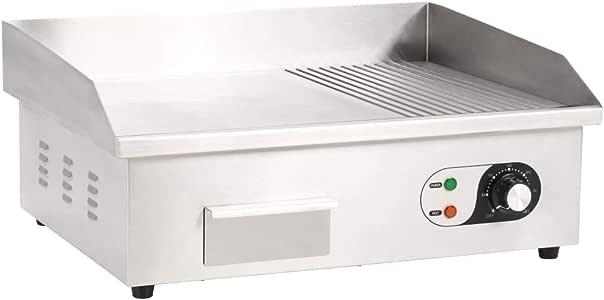 mewmewcat Plancha Eléctrica de Cocina Potencia de 3000 W 54x41x24 cm Cromado Acero Inoxidable: Amazon.es: Deportes y aire libre