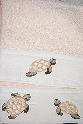 IDEA de REGALO juego de Toallas Bordado de las Tortugas, los Búhos, los Corazones, colores surtidos - La Luz De Color Rosa, Las tortugas