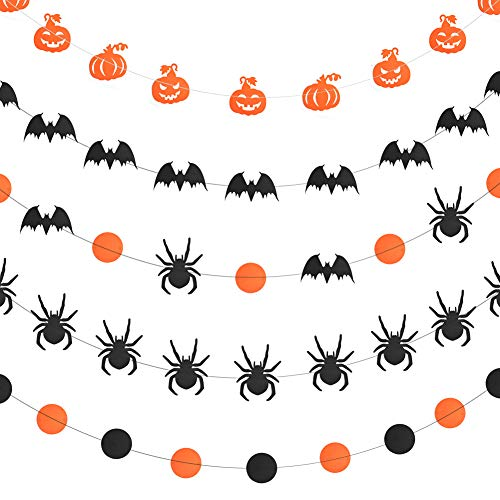 WXJ13 5 Style Halloween Paper Garlands Pumpkin Bat Dot Spider Paper Garland Hanging Decorations, 157 Inches Long, Black and Orange ()