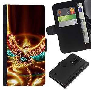 LG G3 D855 D850 D851 , la tarjeta de Crédito Slots PU Funda de cuero Monedero caso cubierta de piel ( Fire Eagle Art Mythical Creature Element Bird)