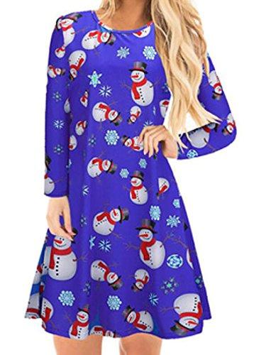 Pull-over Imprimé Bonhomme De Neige De Noël Occasionnel Des Femmes Domple Évasé Bleu Robe Swing Ligne