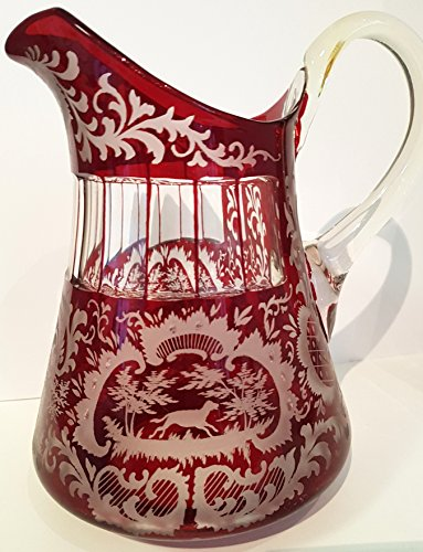 Glass Pitcher Antique Rare Hand Cut Ruby Red Bohemian Original Egermann Mouth Blown Crystal Glass Pitcher with Handle with a very fine cut Height Approx 21 Cm Oberstdorfer Glashütte