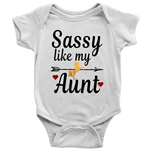 Newborn Baby Shower Sassy Like My Aunt Black Gold Unicorn Onesies Bodysuit Outfits