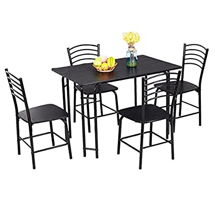 Amazon.com - Costway 5 PCS Black Dining Set Table 4 Chairs ...