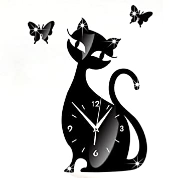 Malloom Lindo gato mariposa espejo negro pared reloj moderno diseño Home Decor Reloj pared adhesivo: Amazon.es: Hogar