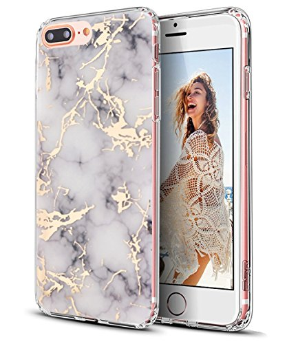 iPhone 7 Plus Case,iPhone 8 Plus Case,Spevert Marble Pattern Hybrid Hard Back Soft TPU Raised Edge Ultra-Thin Shock Absorption Protective Case for iPhone 7 Plus/iPhone 8 Plus - White