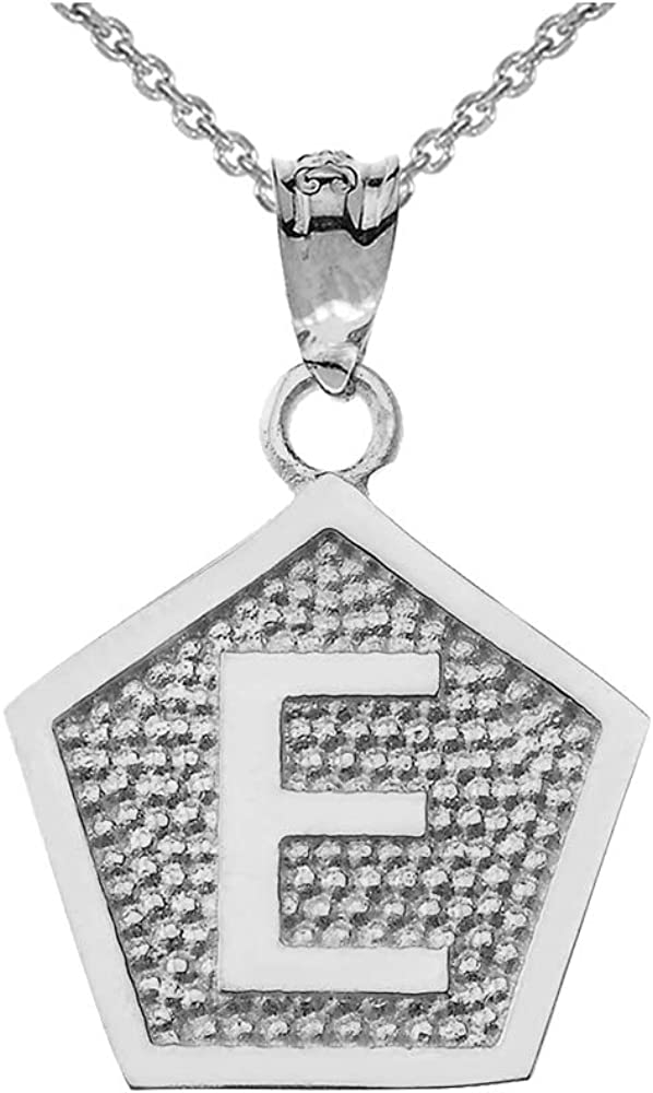 LA BLINGZ 10K White Gold Letter E Initial Pentagon Pendant Necklace