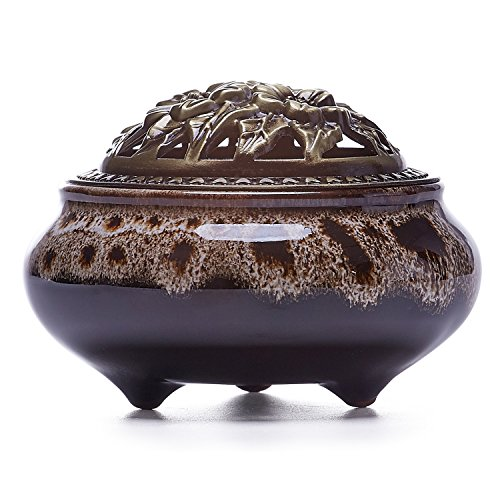 UOON Ceramic Stick Incense Burner and Cone Incense Holder Ash Catcher (White Incense Burners)