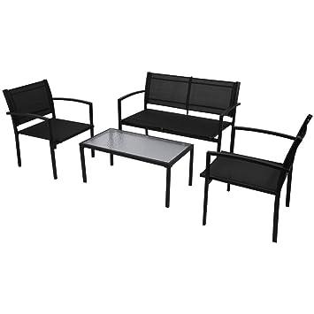 Festnight 4 Teiliges Gartenmöbel Set Gartengruppe Mit 1 Bank, 2 Stühle Und 1