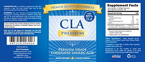 CLA PREMIUM: 100% PURE Conjugated Linoleic Acid 2000mgs 85% CLA from Safflower Oil