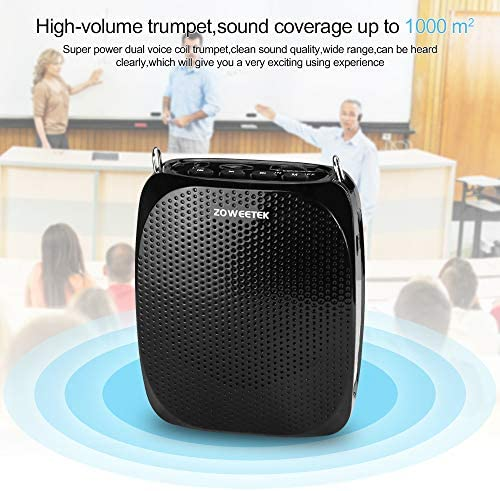 ZOWEETEK Voice Amplifier with UHF Wireless Microphone Headset, 10W 1800mAh Portable Rechargeable PA system Speaker for Multiple Locations such as Classroom, Meetings, Promotions and Outdoors 51KZahDLmnL