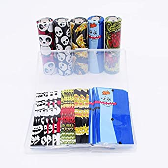 10 Styles with Transparent Box 20pcs Pre-Cut 18650 Battery Wraps Cover Movie Series Protective Sleeve Heat Shrink Wrap