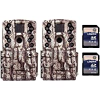 Moultrie Low Glow 12 MP AC20 Long Range IR Trail Game Camera (Pair) + 2 SD Cards