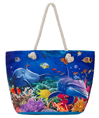 - Leisureland Large Beach Tote Bag, Top Zipper Boat Bag (Sea/Dolphin)
