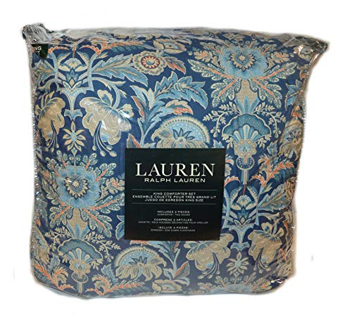 (Ralph Lauren Chapman Oriental Floral Blue 3P King Comforter Set New Cotton)
