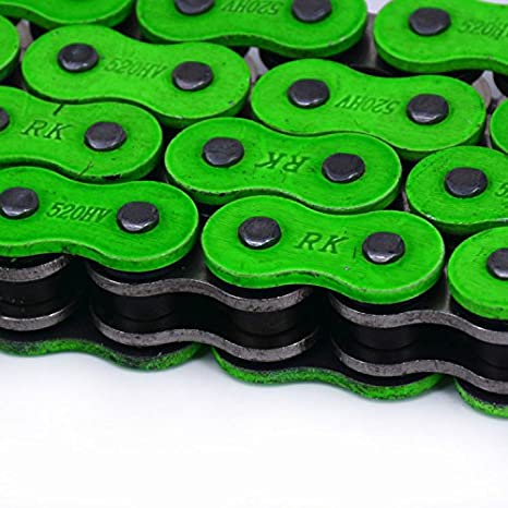 JFG RACING Green Drive Chain 520 X Ring 120-Links Heavy Duty Racing Chain For Kawasaki KX125 KX250 KX250F KX450F KLX250 Dirt Bike Yamaha Suzuki For Honda KTM