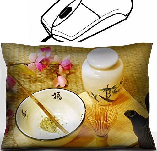Price comparison product image MSD Mouse Wrist Rest Office Decor Wrist Supporter Pillow design: 4742635 Tools for Japanese tea ceremony chado A brush made of bamboo and a teacup with green tea called matcha on