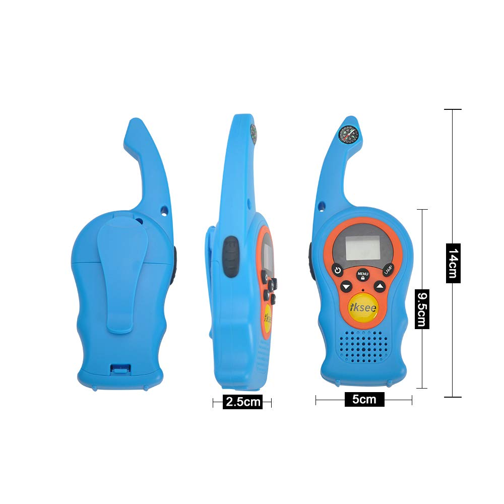 iKsee 2019 Must-Have Dung Beetle Walkie Talkie Set for Adults and Kids with Compass Flashlight, 3+ Mile Long Range Two Way Radios Toys Gifts for 4-12 Boys Girls Awards and Family Games (Blue,1 Pair) by iKsee (Image #5)