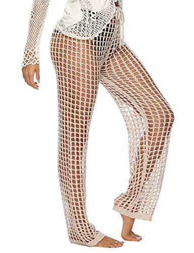 (Kistore Woman Beach Pants Cover Tall Summer Long Pajama Lace Mesh Swimsuit Pant Cover Ups Khaki)