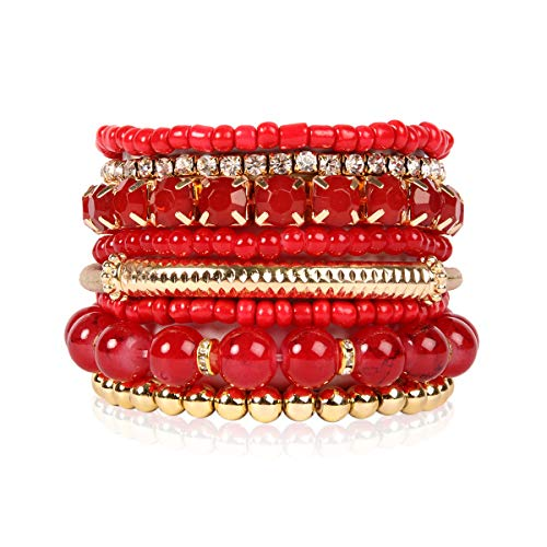 (RIAH FASHION Multi Color Stretch Beaded Stackable Bracelets - Layering Bead Strand Statement Bangles (Original - Red, 7))