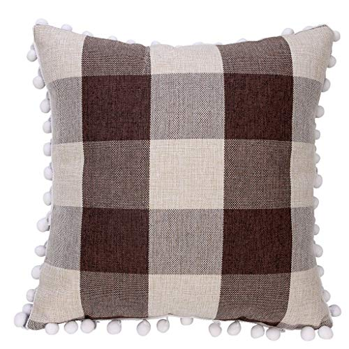 Sanmenxia Fashion Simple Tassel Style Soft Square Decor Throw Pillow Covers 45x45 cm(Coffee) ()