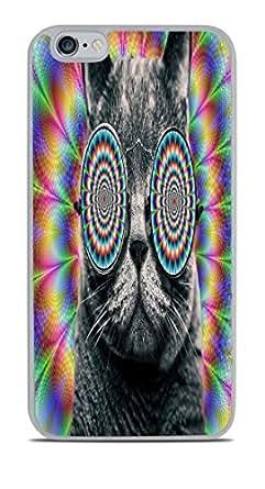 Amazon Com Crazy Cat Hallucination With Glasses White