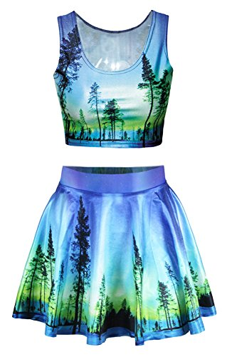 Moon Light Blue Green Forest Printed Flare Pleated Skirt Crop Tops Set ()