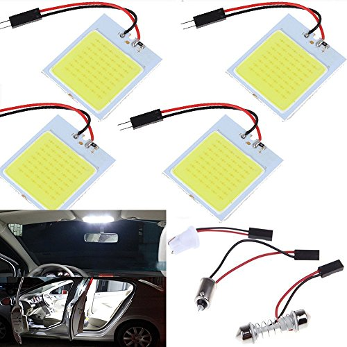4 Pack 48 SMD COB LED T10 4W 12V White Light Car Interior Panel Lights Dome Lamp Bulb,Energy-saving Auto Reading Plate Roof Ceiling Wired Light With 4x BA9S Adapter,4x T10 Adapter,4x Festoon Adapter (In Plug Ceiling Plate)