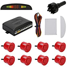 TKOOFN Highly Sensitive Buzzer Safety Alert Car Reverse Back Up Radar Detector System with 8 Ultrasonic Parking Sensors [4 Front & 4 Rear] & LED Display for Universal Auto Vehicle - Red